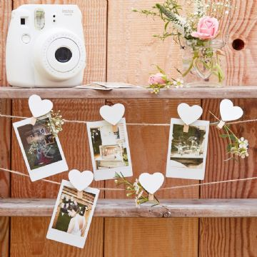 Wooden Heart Peg Garland Card Holder